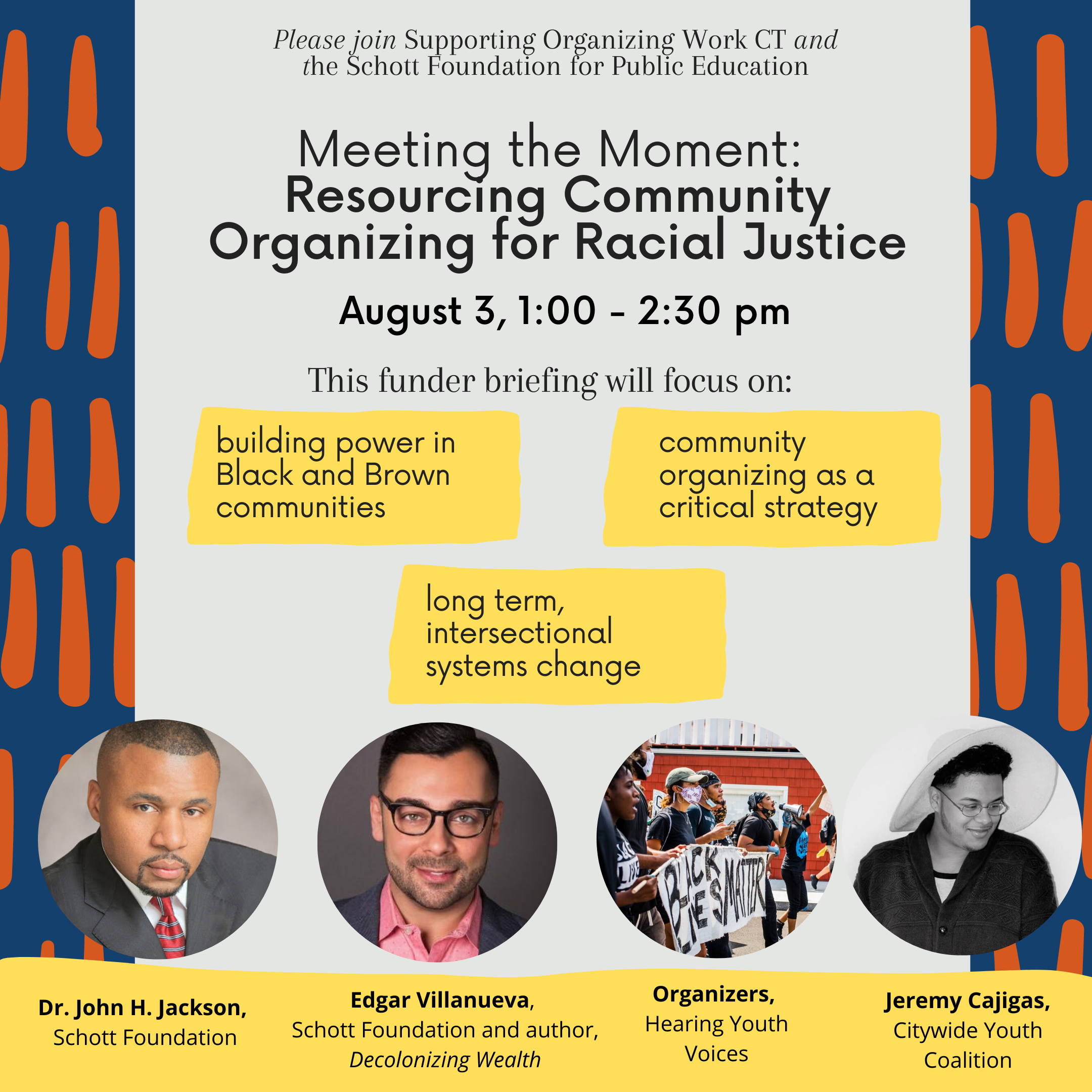 Invitation: Join SOW-CT on Aug 3, for a funder briefing on building power in Black and Brown communities and the role of community organizing as a critical strategy for advancing racial justice.